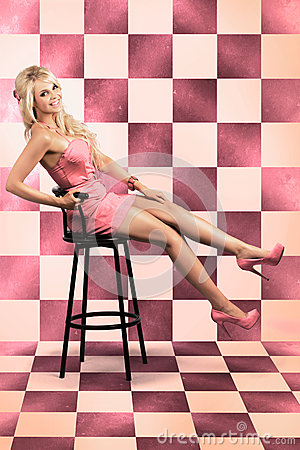 American Culture Pin Up Girl Inside 60s Retro Diner