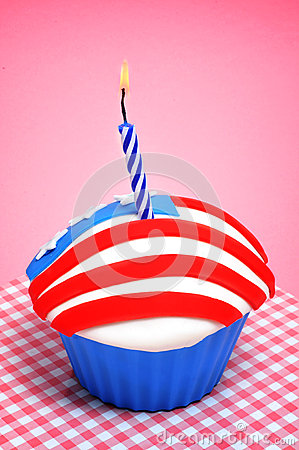 American cupcake with candle