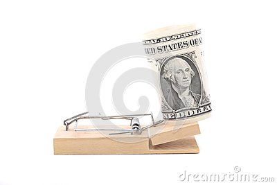 American dollar bill on mouse trap
