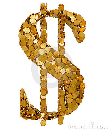 American Dollar Currency symbol shaped with coins