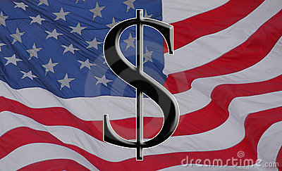 American dollar and flag