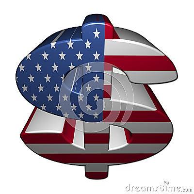 American dollar symbol with flag