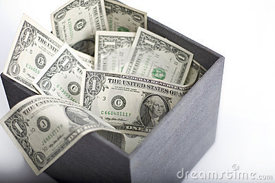 American dollars in box