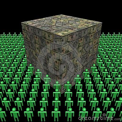 American dollars cube surrounded by people