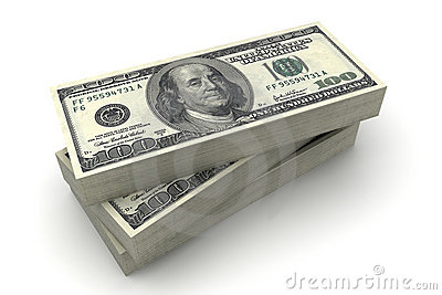 The American dollars in a stack on $100 bills