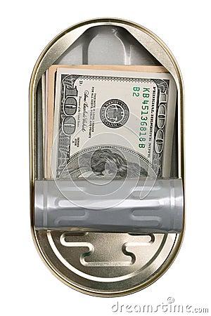 American dollars in a tin can
