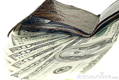 American dollars in wallet