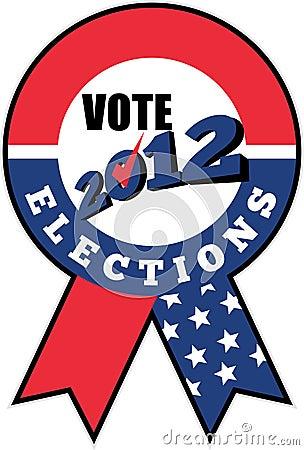 American election USA ribbon tick 2012