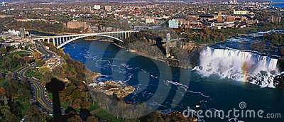American Falls and Rainbow Bridge, Niagara Falls Editorial Photography