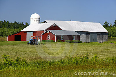 American Family Farm - Red Barn and Tractor