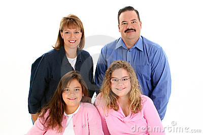 American Family Portrait with Father Mother Daughters
