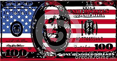 American flag with 100 dollar bill