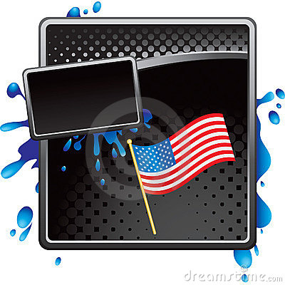 American flag on black halftone grungy banner