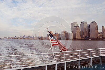 American Flag On Boat In New York Free Public Domain Cc0 Image