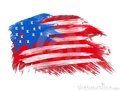 American flag in brush strokes