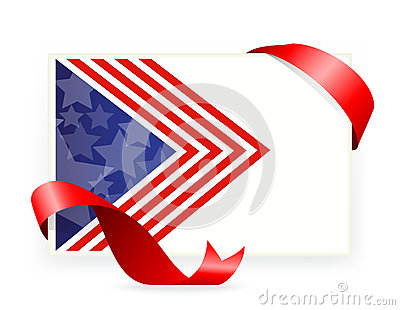 American flag , Business cards with ribbon