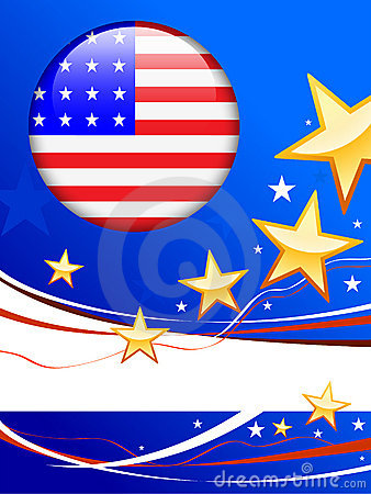 American Flag Button on Patriot Background