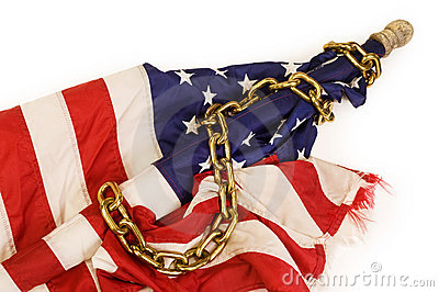 American flag in chains