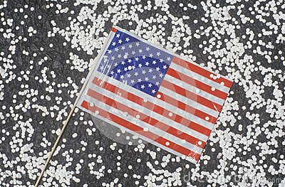 American Flag and Confetti