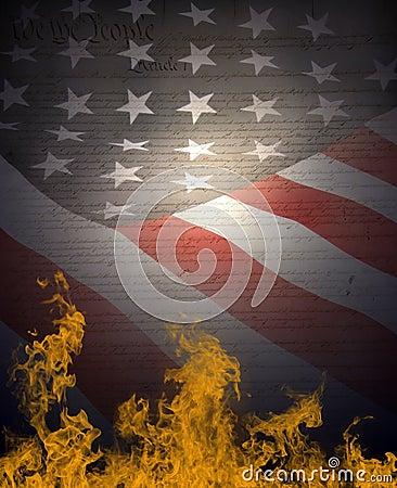 American Flag & Constitution