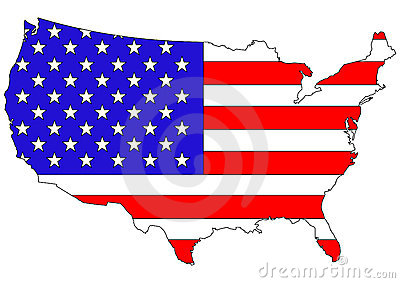 American flag on country map