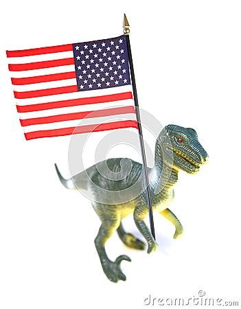 American flag and dinosaur