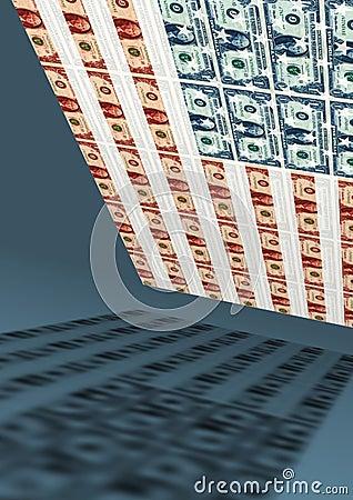 American flag, dollar, economy
