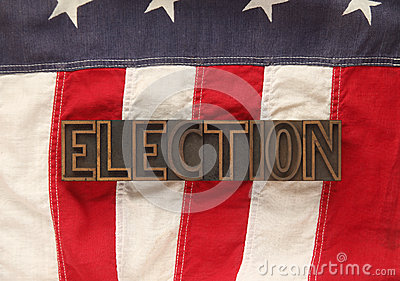 American flag with election word