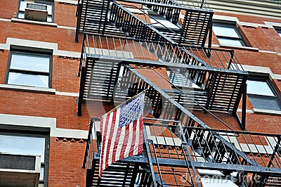 American flag and emercency stairs