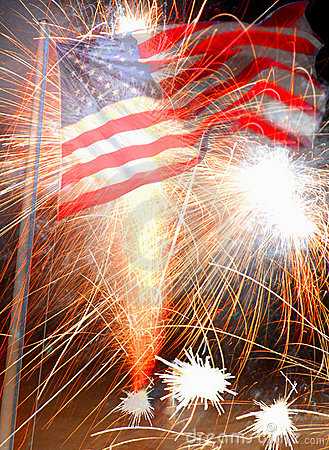 American Flag and Fireworks