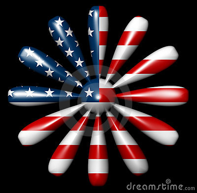American Flag Flower 12 sides