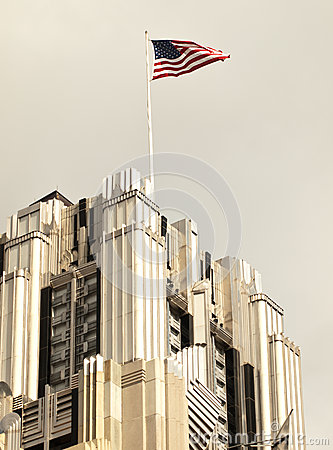 American flag on skyscraper
