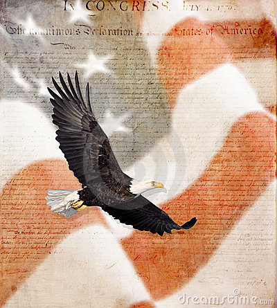 American Flag, flying bald Eagle, and Constitution