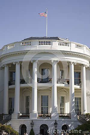 American Flag flying over pillars of the South Portico Editorial Photo