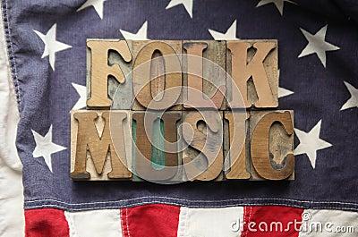 American flag with folk music words