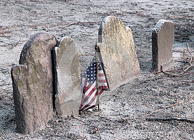 American flag and gravestones