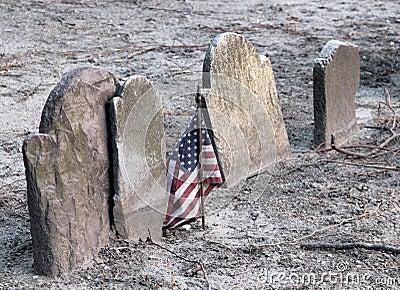 American flag and gravestones