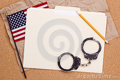 American Flag and Handcuffs