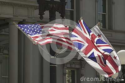 American Flag hanging with Union Jack British Flag