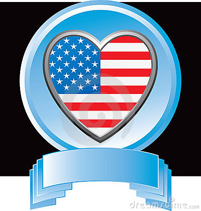 American flag heart in blue display