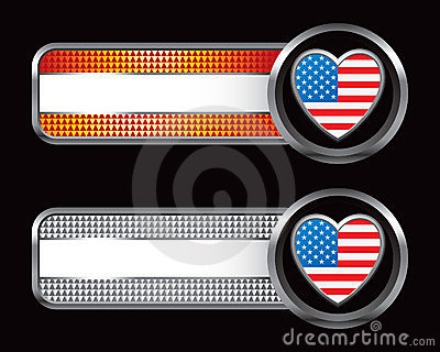 American flag heart on striped banners