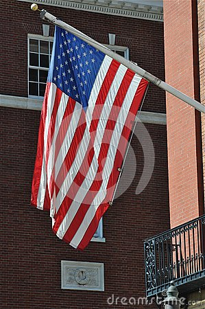 American Flag in a Historic City