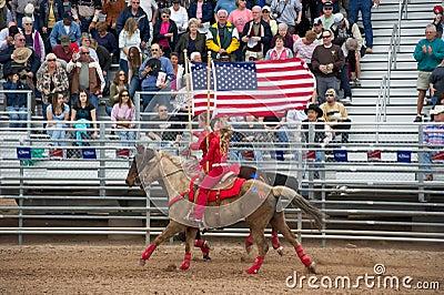 American flag on horseback Editorial Photo