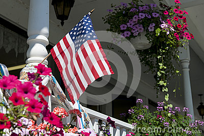American flag on house porch