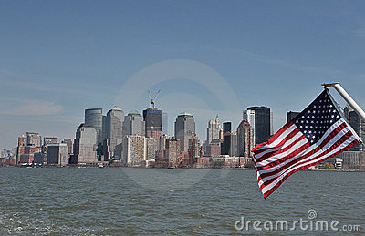 American Flag on the Hudson