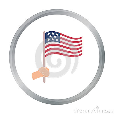 American flag icon in cartoon style isolated on white background. Patriot day symbol Vector Illustration