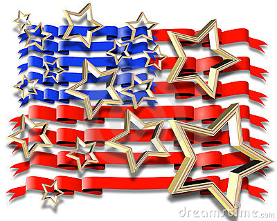 American Flag illustration 3D