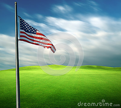 American flag in long exposure photography