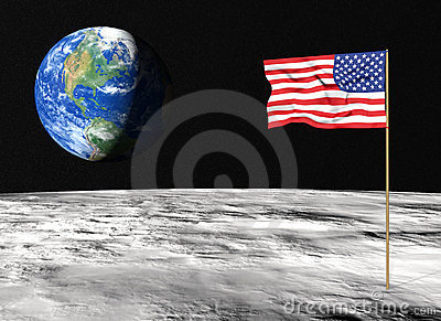 American Flag On The Moon Royalty Free Stock Photography ...