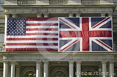 American Flag mounted flat next to Union Jack British Flag